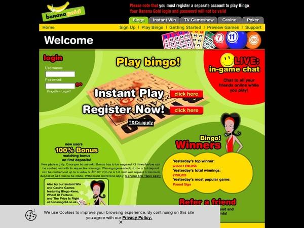 Banana Bingo Online Casino Jackpot
