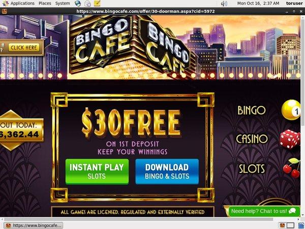 Bingo Cafe Anzahlung