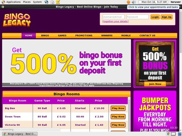 Bingo Legacy Welcome Bonus No Deposit