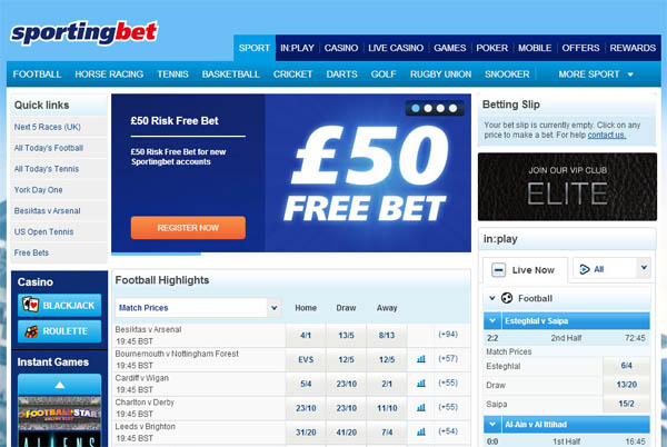 Sporting Bet UK Pегистрация