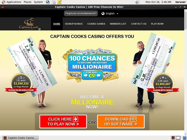 Captain Cooks Mobile Softbet