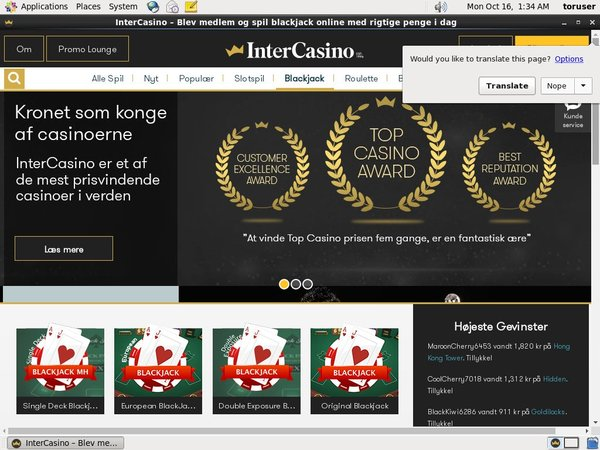 InterCasino DK No Deposit Needed
