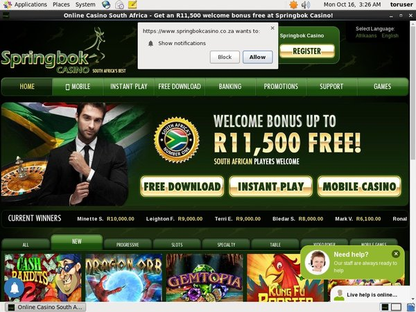 Pay By Phone SpringBok Casino