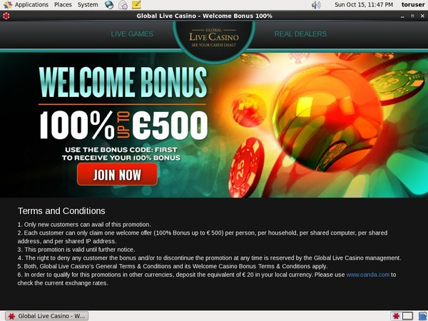 Global Live Casino Bonus Code 2017