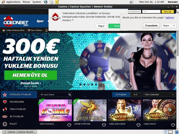 Odeonbet Casino Credit Card